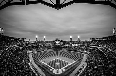 Comiskey Park Night Game - Black And White Poster