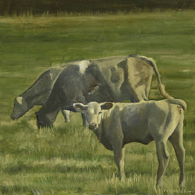 Poster featuring the painting 3 Cows In The Pasture by John Reynolds