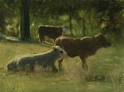 Poster featuring the painting Cows In The Sun by John Reynolds