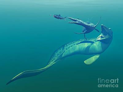 Cretaceous Marine Predators, Artwork Poster by Walter Myers
