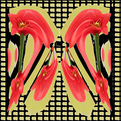 Dancing Tulip Red Exotic Flower Petal Based Wave Pattern  Created By Navinjoshi Reiki Healing Master Poster by Navin Joshi