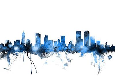 Denver Colorado Skyline Poster by Michael Tompsett