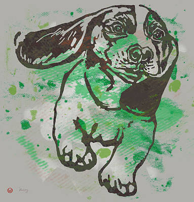 Dog Stylised Pop Modern Etching Art Portrait Poster