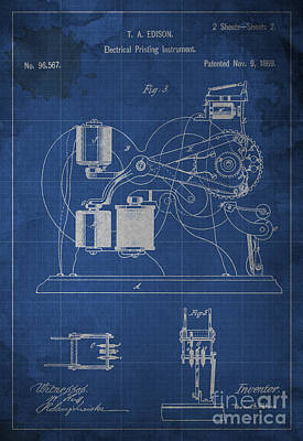 Edison Electrical Printing Instrument Blueprint 2 Poster by Pablo Franchi