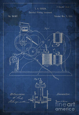 Edison Electrical Printing Instrument Blueprint Poster by Pablo Franchi