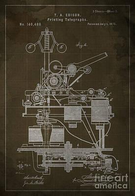 Edison Printing Telegraphs Patent Blueprint 2 Poster