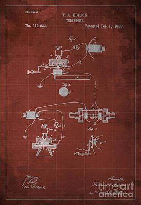 Edison Telephone Patent Blueprint 1 Poster
