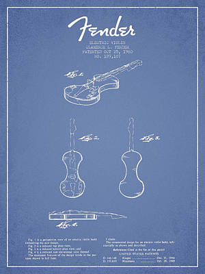 Electric Violin Patent Drawing From 1960 Poster