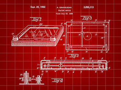 Etch A Sketch Patent 1959 - Red Poster by Stephen Younts
