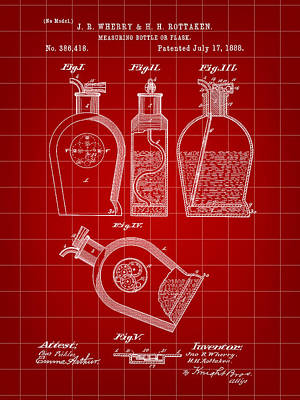 Flask Patent 1888 - Red Poster by Stephen Younts
