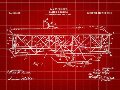 Flying Machine Patent 1903 - Red Poster by Stephen Younts