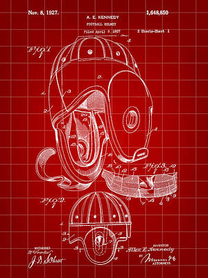 Football Helmet Patent 1927 - Red Poster