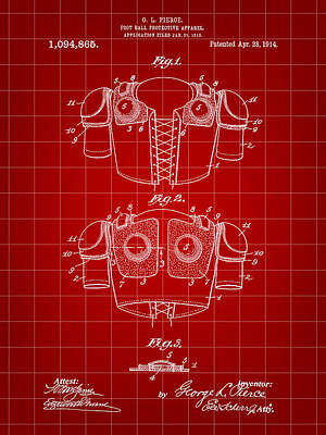 Football Shoulder Pads Patent 1913 - Red Poster