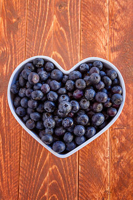 Fresh Picked Organic Blueberries Poster by Teri Virbickis