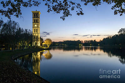 Furman University Bell Tower At Sunset  Greenville Sc Poster