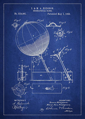 Geographical Globe Patent Drawing From 1894 Poster by Aged Pixel