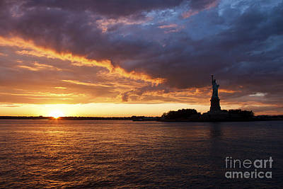 Glorious Sunset Over New York Poster