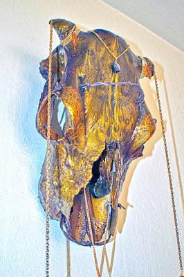 Gold And Black Illuminating Steer Skull Poster