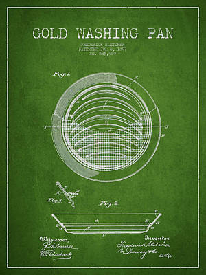 Gold Washing Pan Patent Drawing From 1897 Poster by Aged Pixel