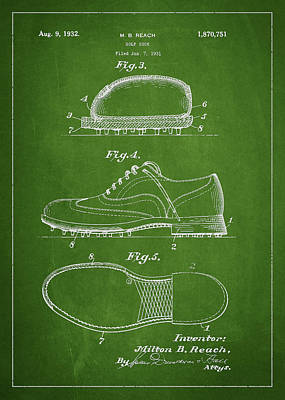 Golf Shoe Patent Drawing From 1931 Poster