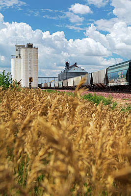 Grain Elevators And Railway Poster by Jim West