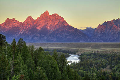 Poster featuring the photograph Grand Tetons Morning At The Snake River Overview - 2 by Alan Vance Ley