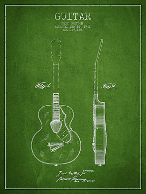 Gretsch Guitar Patent Drawing From 1941 - Green Poster by Aged Pixel
