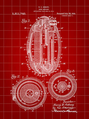 Hand Grenade Patent 1917 - Red Poster by Stephen Younts