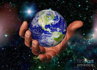 Hand Holding The Earth Poster by Scott Camazine