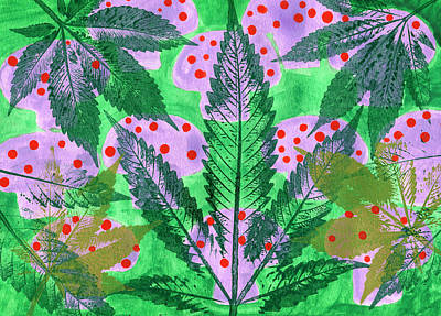 Hand-made Illustrations With Leaf Poster