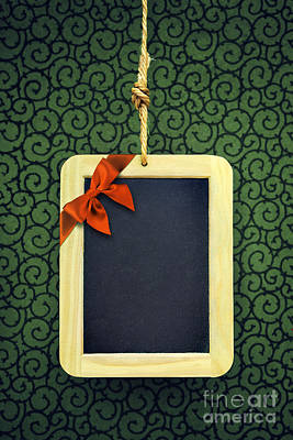 Hanged Xmas Slate - Bow  Poster by Carlos Caetano