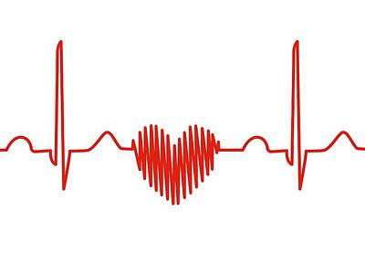 Heart-shaped Ecg Trace Poster by Alfred Pasieka