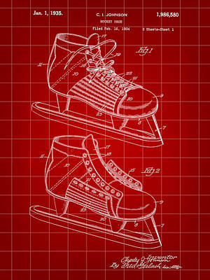 Hockey Shoe Patent 1934 - Red Poster