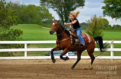 Horse And Rider In Barrel Race Poster by Amy Cicconi