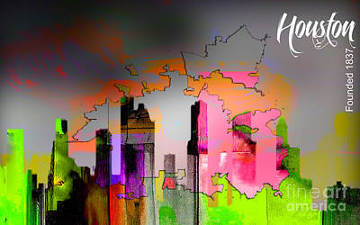 Houston Texas Map And Skyline Watercolor Poster
