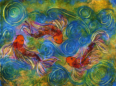 Koi Mating Dance Poster by Janet Immordino
