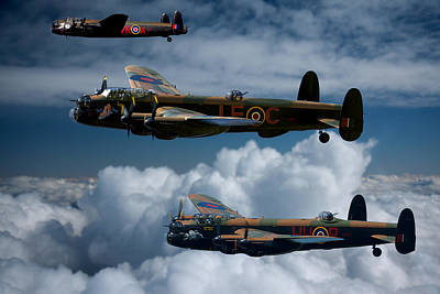 3 Lancaster Bombers Poster