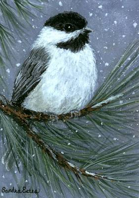Poster featuring the painting Let It Snow Chickadee by Sandra Estes