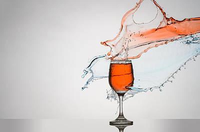 Liquid Splash Wine Glass Poster by Andy Astbury