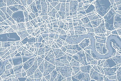 London England Street Map Poster by Michael Tompsett