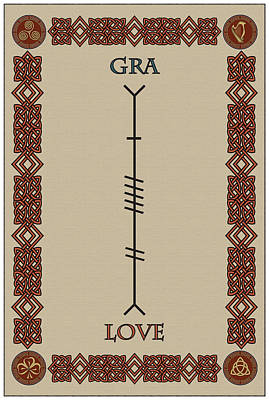 Love Written In Ogham Poster