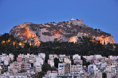 Lycabettus Hill During Dusk Time Poster by George Atsametakis