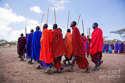 Maasai Men In Their Ritual Dance In Their Village In Tanzania Poster by Michal Bednarek
