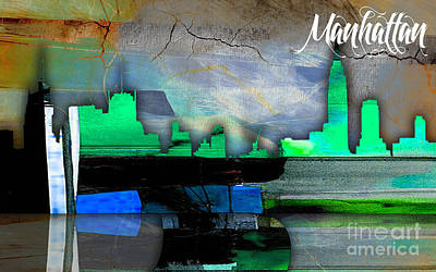 Manhattan Skyline Watercolor Poster by Marvin Blaine