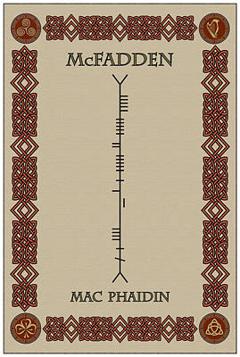 Mcfadden Written In Ogham Poster by Ireland Calling