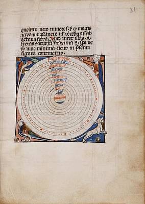 Medieval Depiction Of The Solar System Poster by Renaissance And Medieval Manuscripts Collection/new York Public Library