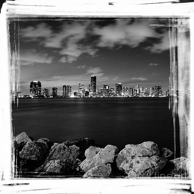 Poster featuring the photograph Miami Skyline At Night by Carsten Reisinger