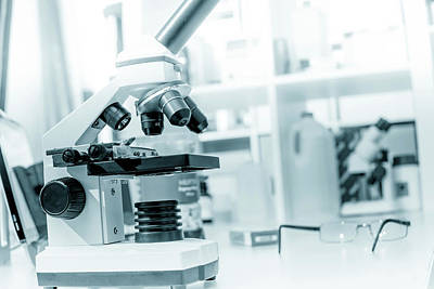 Microscope In Lab Poster