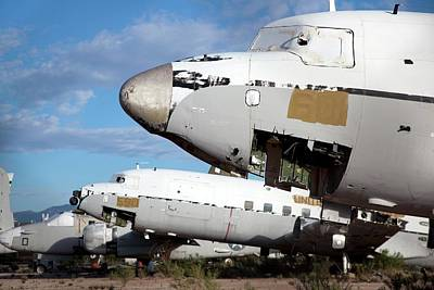 Military Aircraft In Salvage Yard Poster by Jim West