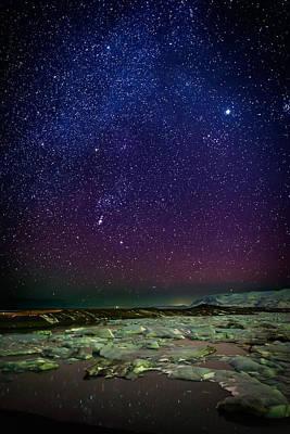 Milky Way Galaxy With Aurora Borealis Poster